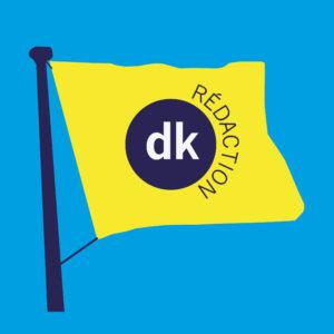 Logo carré DK Rédaction fond bleu cyan
